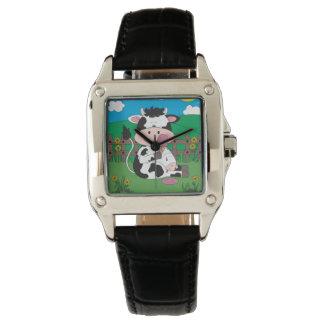 Relógio Desenhos animados bonitos da vaca do bebê