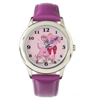 Relógio Desenhos animados do filhote de cachorro do rosa