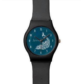 Relógio Design à moda do art deco do pavão branco