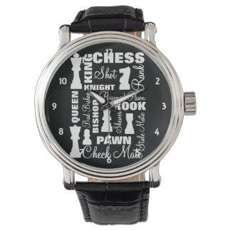 Relógio Design da tipografia dos jogadores de xadrez