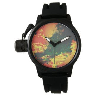 Relógio Design digital da arte do abstrato vermelho