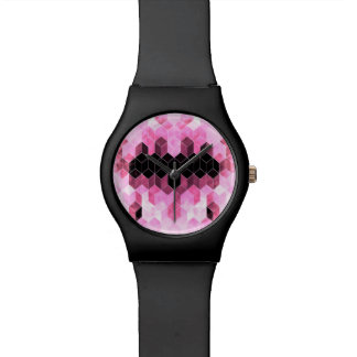 Relogio Design geométrico cor-de-rosa & preto intenso