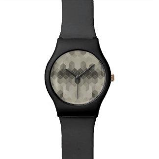 Relógio Design geométrico do cubo da escala cinzenta