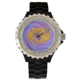 Relógio Design roxo do Twirl do lírio de água