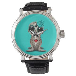 Relógio Dia azul do leão de mar inoperante do bebê