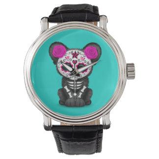 Relógio Dia cor-de-rosa da pantera preta inoperante Cub