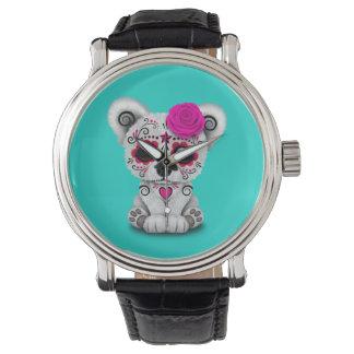 Relógio Dia cor-de-rosa do urso polar do bebê inoperante