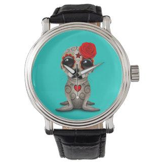 Relógio Dia vermelho do leão de mar inoperante do bebê