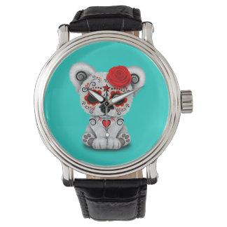 Relógio Dia vermelho do urso polar do bebê inoperante