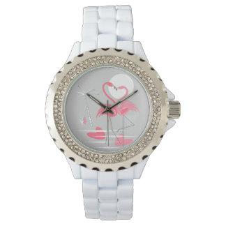 Relógio do amor do flamingo