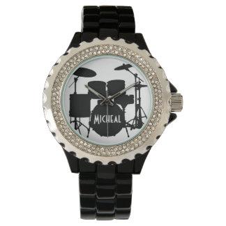 Relógio do baterista com nome feito sob encomenda