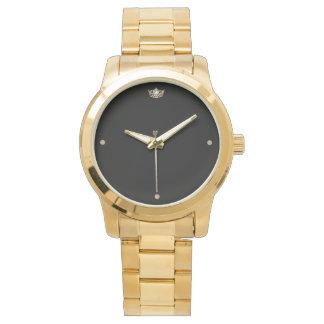 Relógio do bracelete da coroa do ouro das mulheres