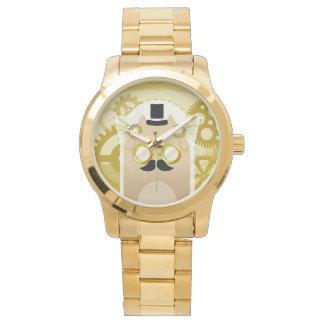 Relógio do bracelete do ouro do gato de Steampunk