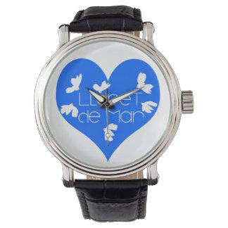 Relógio do couro do vintage do preto do coração de