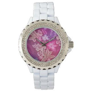 Relógio do cristal de rocha do impressão floral do