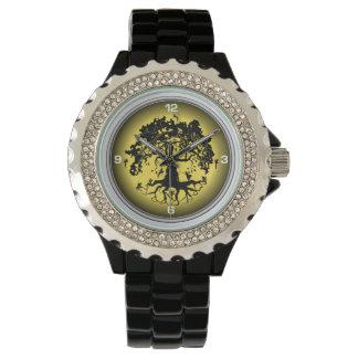 Relógio do esmalte do preto do cristal de rocha