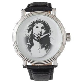Relógio do estêncil da cara do Jesus Cristo