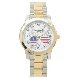 Relógio do gato da bandeira americana