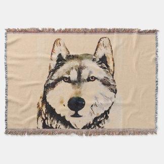 Relógio do lobo throw blanket