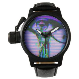 Relógio do olho do pulso aleatório (preto/couro)