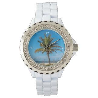 Relógio do palmtree da praia de Florida para