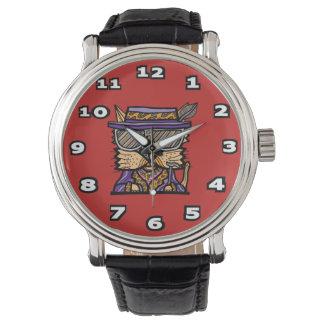 """Relógio Do """"relógio preto do couro do vintage do Kat"""