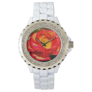 Relógio do rosa da chama