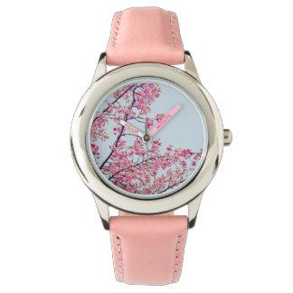 Relógio do rosa das flores de cerejeira