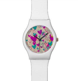 Relógio Do teste padrão à moda poderoso do coração do amor