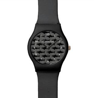 Relógio do tubarão preto & branco para homens com