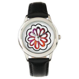 Relógio Doodle lunático de flower power
