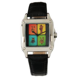 Relógio dos azulejos do vintage do Mah Jongg