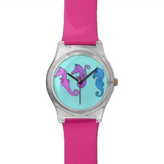relógio dos cavalos de mar dos desenhos animados