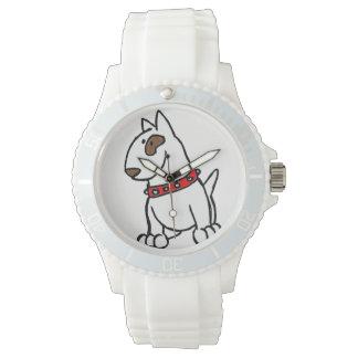 Relógio dos desenhos animados de bull terrier do