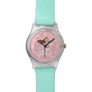 Relógio dos miúdos do teste padrão de onda do rosa