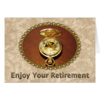 Relógio dourado elegante da aposentadoria do cartão comemorativo