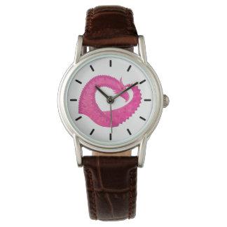 Relógio Dragão do coração do rosa quente no branco