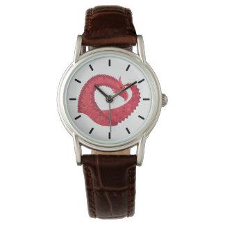 Relógio Dragão vermelho do coração no branco