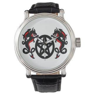 Relógio Dragões e Pentacle vermelhos e pretos