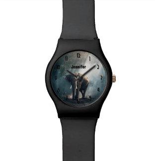 Relógio Elefante asiático em um esclarecimento Sunlit da
