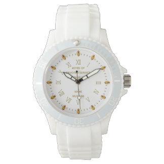Relógio Elegante branco do ouro feito sob encomenda do