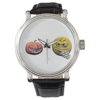 Relógio Emoticon amarelo ou smiley do Dia das Bruxas