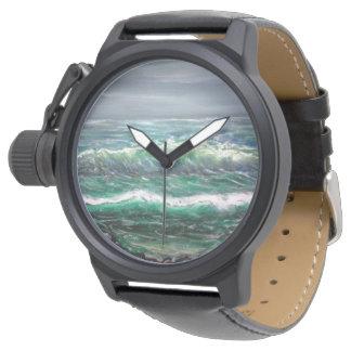 Relógio encalhe, encalhe a onda, acene, ondas, ondas da
