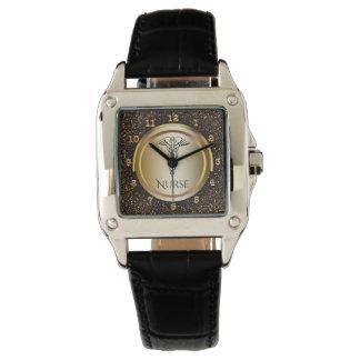 Relógio Enfermeiras médicas do símbolo | do Caduceus que