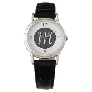 Relógio enfrentado preto e branco do monograma