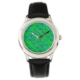 Relógio Escalas verdes do azul de Falln