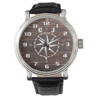 Relógio Esfrie e monograma náutico rústico à moda do