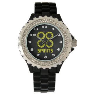 Relógio Esmalte do preto do cristal de rocha das mulheres