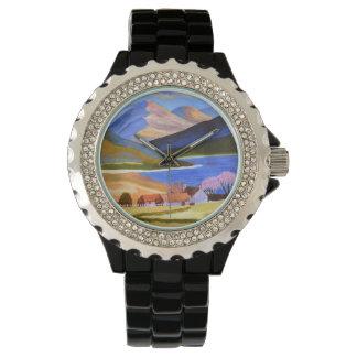 Relógio Esmalte preto do cristal de rocha