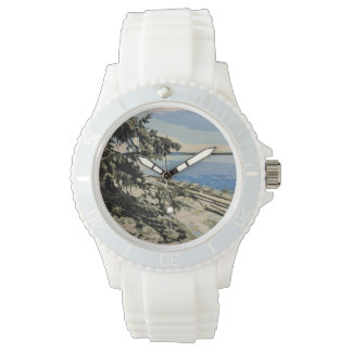 Relógio Estilo pacífico do woodblock da praia